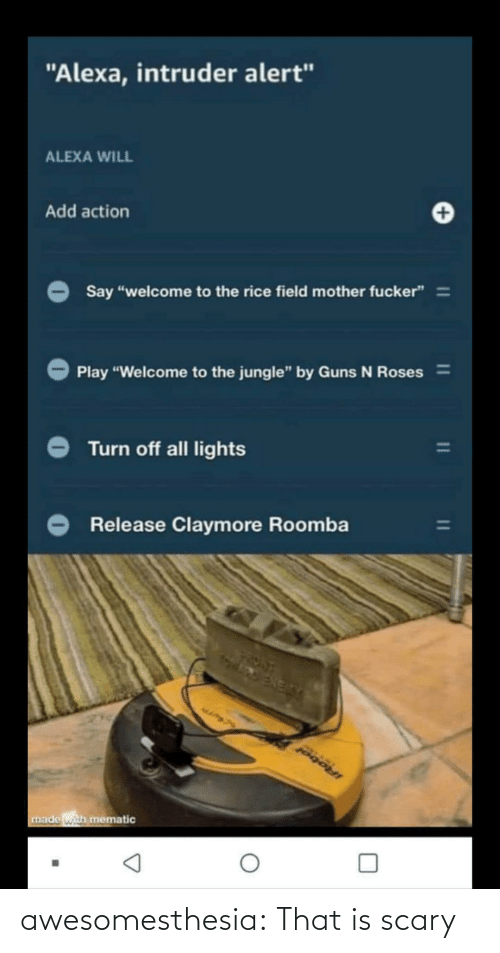 "Guns, Tumblr, and Roomba: ""Alexa, intruder alert""  ALEXA WILL  Add action  Say ""welcome to the rice field mother fucker"" =  Play ""Welcome to the jungle"" by Guns N Roses%3D  Turn off all lights  Release Claymore Roomba  IRobol  made with mematic awesomesthesia:  That is scary"