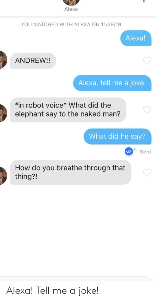Elephant: Alexa  YOU MATCHED WITH ALEXA ON 11/29/19  Alexa!  ANDREW!!  Alexa, tell me a joke.  *in robot voice* What did the  elephant say to the naked man?  What did he say?  Sent  How do you breathe through that  thing?! Alexa! Tell me a joke!