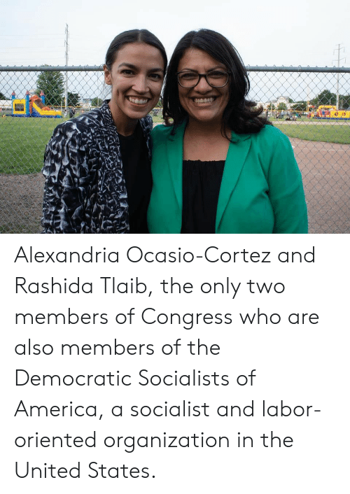 Democratic Socialists Of America: Alexandria Ocasio-Cortez and Rashida Tlaib, the only two members of Congress who are also members of the Democratic Socialists of America, a socialist and labor-oriented organization in the United States.