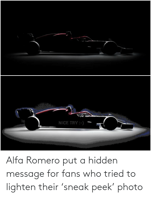 Hidden Message: Alfa Romero put a hidden message for fans who tried to lighten their 'sneak peek' photo