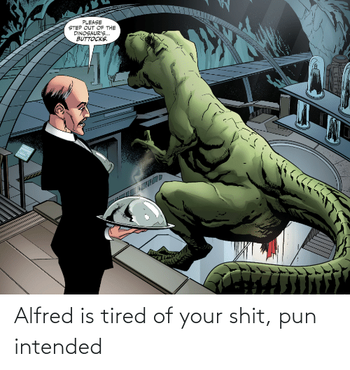 shit: Alfred is tired of your shit, pun intended