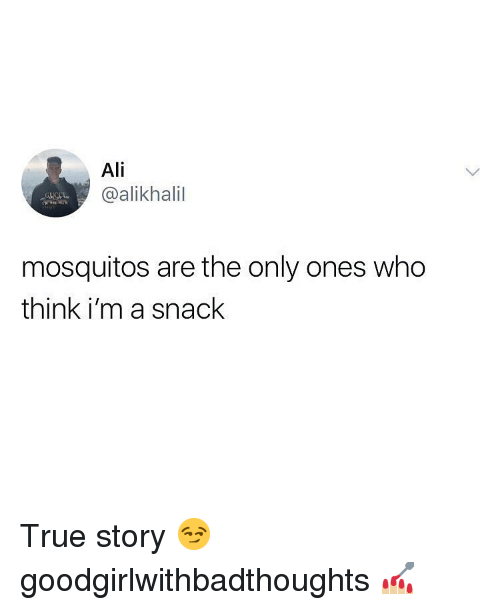 mosquitos: Ali  @alikhalil  mosquitos are the only ones who  think i'm a snack True story 😏 goodgirlwithbadthoughts 💅🏼