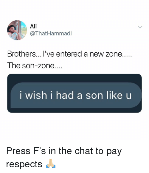 Ali, Chat, and Dank Memes: Ali  @ThatHammadi  Brothers...l've entered a new zone....  The son-zone....  i wish i had a son like u Press F's in the chat to pay respects 🙏🏼