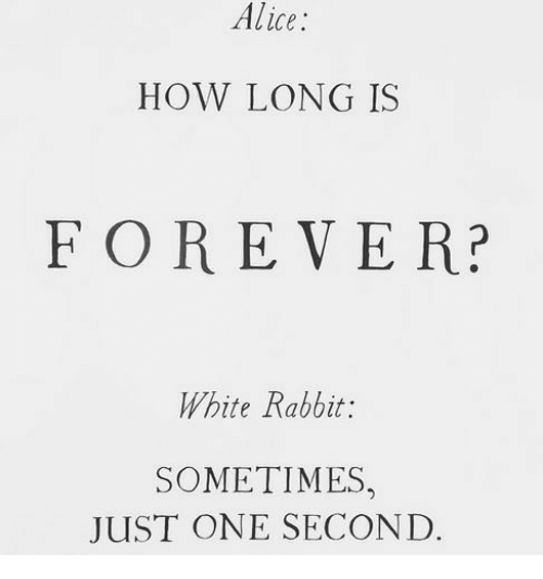 Forever, Rabbit, and White: Alice:  HOW LONG IS  FOREVER?  White Rabbit:  SOMETIMES  JUST ONE SECOND