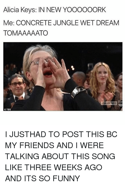 Memes, 🤖, and Song: Alicia Keys: IN NEW YOOOOOORK  Me: CONCRETE JUNGLE WET DREAM  TOMAAAAATO  tb  ISAGAWARDS  TBS I JUSTHAD TO POST THIS BC MY FRIENDS AND I WERE TALKING ABOUT THIS SONG LIKE THREE WEEKS AGO AND ITS SO FUNNY