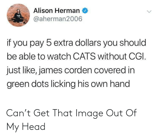 dots: Alison Herman  MED  @aherman2006  if you pay 5 extra dollars you should  be able to watch CATS without CGI.  just like, james corden covered in  green dots licking his own hand Can't Get That Image Out Of My Head