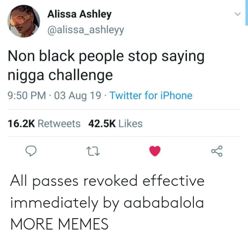 Dank, Iphone, and Memes: Alissa Ashley  @alissa_ashleyy  Non black people stop saying  nigga challenge  9:50 PM 03Aug 19 Twitter for iPhone  16.2K Retweets 42.5K Likes All passes revoked effective immediately by aababalola MORE MEMES