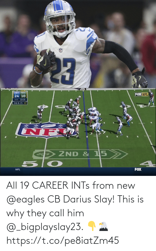 call: All 19 CAREER INTs from new @eagles CB Darius Slay!   This is why they call him @_bigplayslay23. 👇🦅 https://t.co/pe8iatZm45