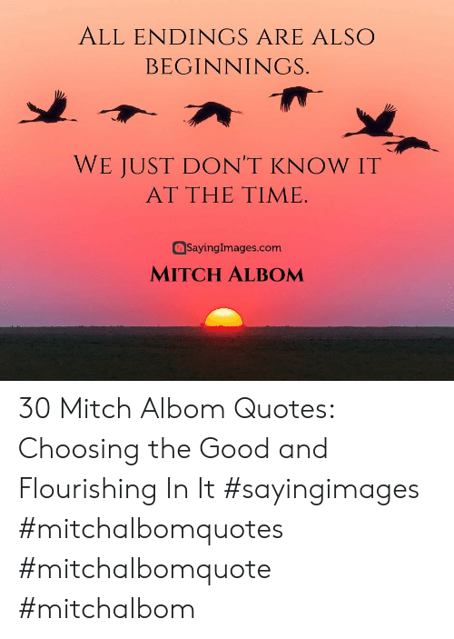 mitch: ALL ENDINGS ARE ALSO  BEGINNINGS.  WE JUST DON'T KNOW IT  AT THE TIME  SayingImages.com  MITCH ALBOM 30 Mitch Albom Quotes: Choosing the Good and Flourishing In It #sayingimages #mitchalbomquotes #mitchalbomquote #mitchalbom