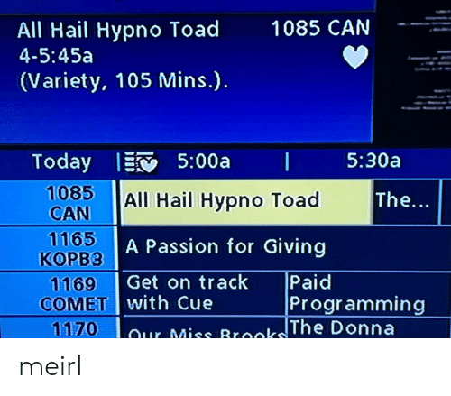 Programming, MeIRL, and Toad: All Hail Hypno Toad  4-5:45a  1085 CAN  (Variety, 105 Mins.).  1085 All Hail Hypno Toad  CAN  1165  KOPB3  1169 Get on track  The...  A Passion for Giving  Paid  COMET with Cue  Programming  TWO) -1 our Miss Brooks!! meirl