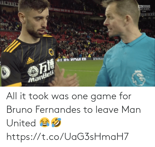 United: All it took was one game for Bruno Fernandes to leave Man United 😂🤣 https://t.co/UaG3sHmaH7