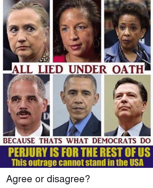 Memes, 🤖, and Usa: ALL LIED UNDER OATH  BECAUSE THATS WHAT DEMOCRATS DO  PERJURY IS FOR THE REST OF US  This outrage cannot stand in the USA  ,  . Agree or disagree?