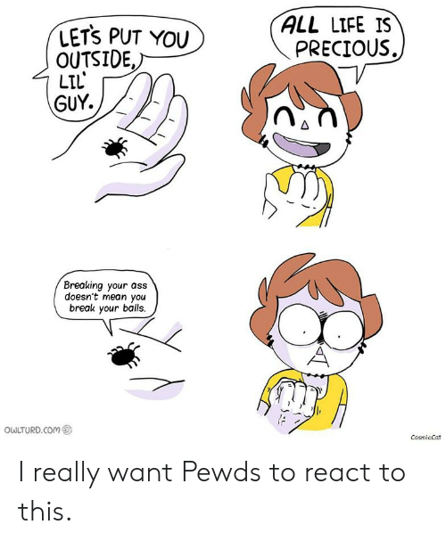 Ass, Life, and Precious: ALL LIFE IS  PRECIOUS.  LETS PUT YOU  OUTSIDE.  LIL  GUY.  Breaking your ass  doesn't mean you  break your balls.  owLTURD.com ㊧  CosmicCat I really want Pewds to react to this.