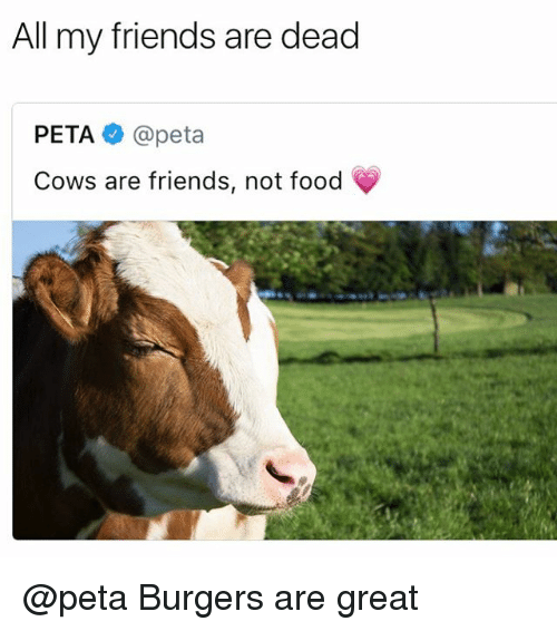Food, Friends, and Funny: All my friends are dead  PETA @peta  Cows are friends, not food @peta Burgers are great