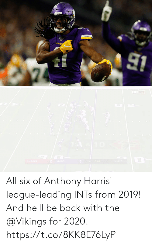 Vikings: All six of Anthony Harris' league-leading INTs from 2019!  And he'll be back with the @Vikings for 2020. https://t.co/8KK8E76LyP