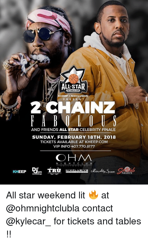 All Star, Friends, and Funny: ALL STAR  KHEEP +NIXCLUSIVE  PRESENT  AND FRIENDS ALL STAR CELEBRITY FINALE  SUNDAY, FEBRUARY 18TH, 2018  TICKETS AVAILABLE AT KHEEP.COM  VIP INFO 407.770.8177  OHM  N IG H T C L UB  oon NIGHTS All star weekend lit 🔥 at @ohmnightclubla contact @kylecar_ for tickets and tables !!