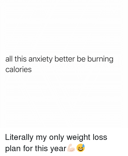 Funny, Anxiety, and Weight Loss: all this anxiety better be burning  calories Literally my only weight loss plan for this year💪🏻😅