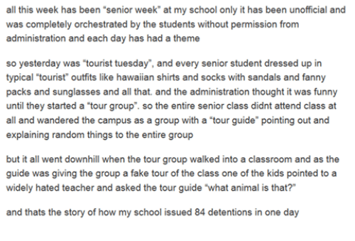 "Animals, Anime, and Fake: all this week has been ""senior week at my school only it has been unofficial and  was completely orchestrated by the students without permission from  administration and each day has had a theme  so yesterday was ""tourist tuesday"", and every senior student dressed up in  typical tourist"" outfits like hawaiian shirts and socks with sandals and fanny  packs and sunglasses and all that. and the administration thought it was funny  until they started a tour group"". so the entire senior class didnt attend class at  all and wandered the campus as a group with a ""tour guide"" pointing out and  explaining random things to the entire group  but it all went downhill when the tour group walked into a classroom and as the  guide was giving the group a fake tour of the class one of the kids pointed to a  widely hated teacher and asked the tour guide what animal is that?""  and thats the story of how my school issued 84 detentions in one day"