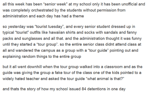 """Animals, Anime, and Dank: all this week has been """"senior week"""" at my school only it has been unofficial and  was completely orchestrated by the students without permission from  administration and each day has had a theme  so yesterday was """"tourist tuesday"""", and every senior student dressed up in  typical tourist"""" outfits like hawaiian shirts and socks with sandals and fanny  packs and sunglasses and all that. and the administration thought it was funny  until they started a """"tour group"""". so the entire senior class didnt attend class at  all and wandered the campus as a group with a """"tour guide"""" pointing out and  explaining random things to the entire group  but it all went downhill when the tourgroup walked into a classroom and as the  guide was giving the group a fake tour of the class one of the kids pointed to a  widely hated teacher and asked the tour guide """"what animal is that?""""  and thats the story of how my school issued 84 detentions in one day"""