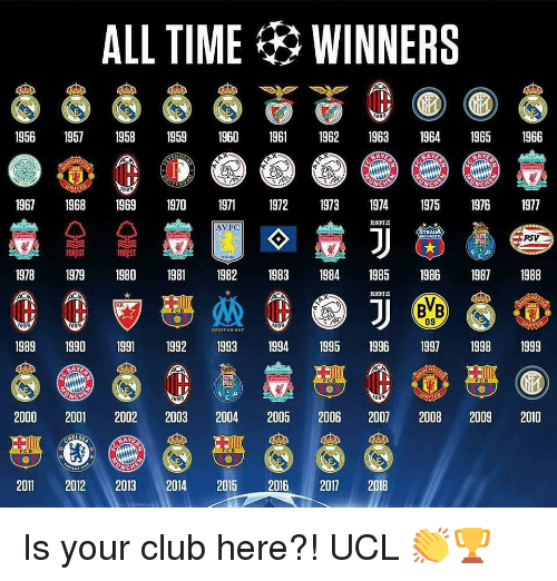 Club, Memes, and Time: ALL TIME WINNERS 1956 19571958 1959 1960 1962 63 41965 1966 967 1968 969 1970 97 97 19739719751976 1977 AVFC TEAUA PSV 19781979 1980 19811982 1983 984 1985 198619871988 09 899 1989 1990 1991 1992 199 94 95 1996 97 1998 1999 2000 2001 2002 2003 2004 2005 2006 2007 2008 2009 2010 2011 2012 2013 2014 2015 2016 2017 2018Is your club here?! UCL 👏🏆