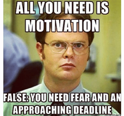 Fear, Motivation, and All: ALL YOU NEED IS  MOTIVATION  FALSE: YOU NEED FEAR AND AN  APPROACHING DEADLINE