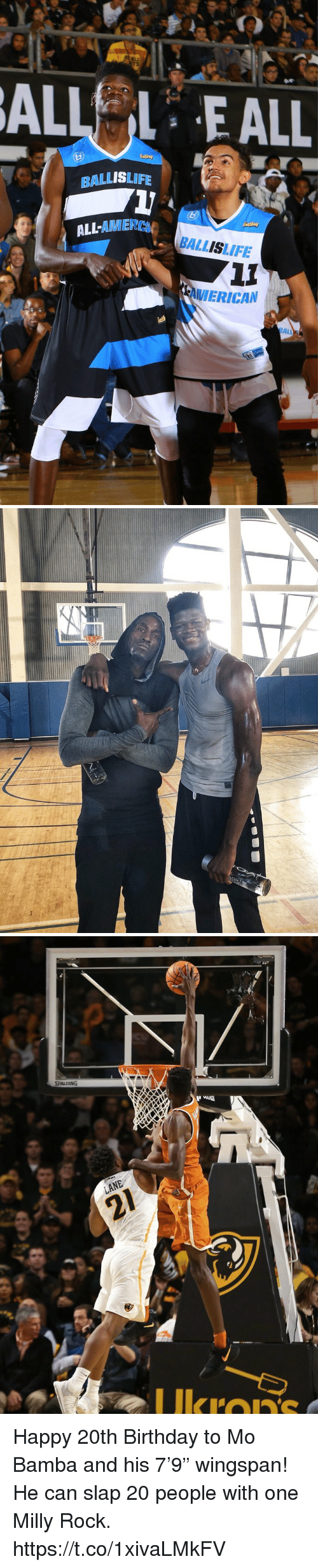 "Birthday, Memes, and Milly Rock: ALLEALL  BALLISLIFE  LL-AMIER  BALLISLIFE  VIERICAN  ALL   Ukron Happy 20th Birthday to Mo Bamba and his 7'9"" wingspan!  He can slap 20 people with one Milly Rock. https://t.co/1xivaLMkFV"