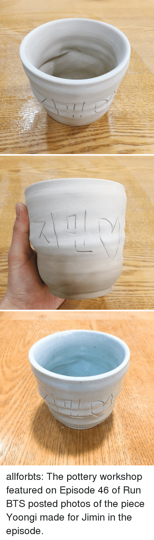 Run Bts: allforbts:  The pottery workshop featured on Episode 46 of Run BTS posted photos of the piece Yoongi made for Jimin in the episode.