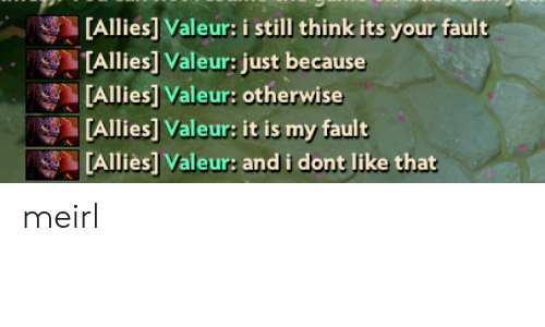 Its Your Fault: [Allies] Valeur: i still think its your fault  TAllies] Valeur: just because  [Allies] Valeur: otherwise  [Allies] Valeur: it is my fault  [Alliès] Valeur: and i dont like that meirl