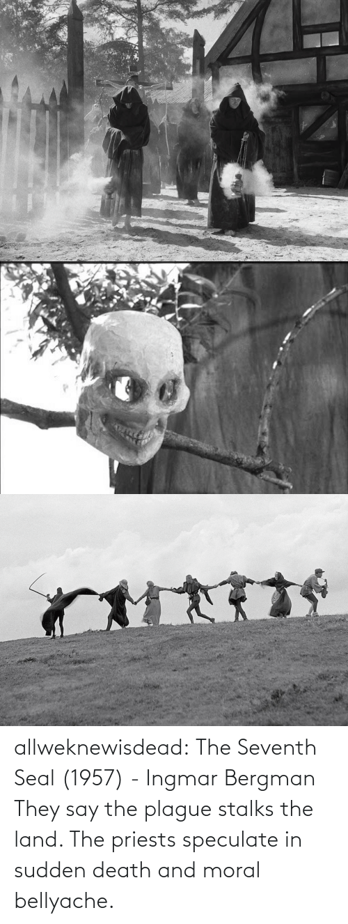 Death: allweknewisdead:   The Seventh Seal (1957) - Ingmar Bergman   They say the plague stalks the land. The priests speculate in sudden death and moral bellyache.