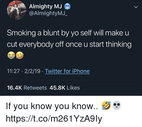 almighty: Almighty MJ  @AlmiightyMJ_  Smoking a blunt by yo self will make u  cut everybody off once u start thinking  11:27 2/2/19 Twitter for iPhone  16.4K Retweets 45.8K Likes If you know you know.. 🤣💀 https://t.co/m261YzA9Iy