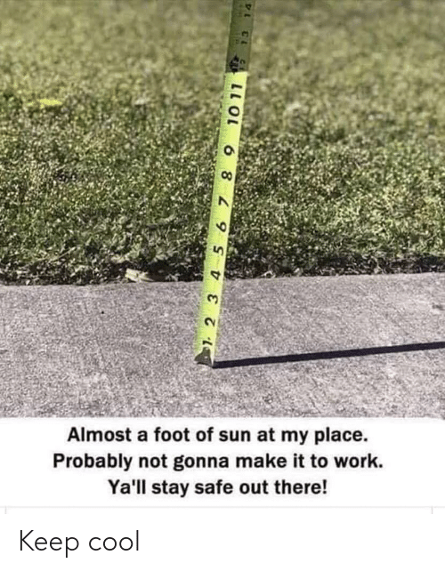 Work, Cool, and Sun: Almost a foot of sun at my place  Probably not gonna make it to work.  Ya'll stay safe out there!  2 3 4 5 67 8 9  10 11  L C Keep cool