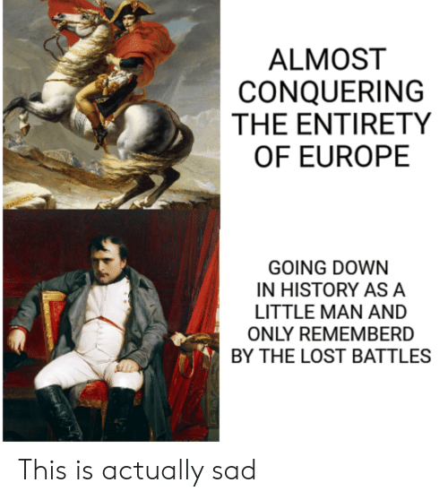 little man: ALMOST  CONQUERING  THE ENTIRETY  OF EUROPE  GOING DOWN  IN HISTORY ASA  LITTLE MAN AND  ONLY REMEMBERD  BY THE LOST BATTLES This is actually sad