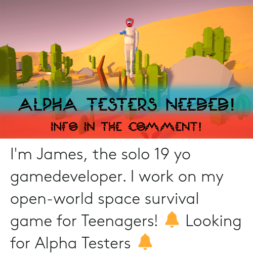 Yo, Work, and Game: ALPHA TESTERS NEEBEB!  INF IN THE COMMENT! I'm James, the solo 19 yo gamedeveloper. I work on my open-world space survival game for Teenagers! 🔔 Looking for Alpha Testers 🔔