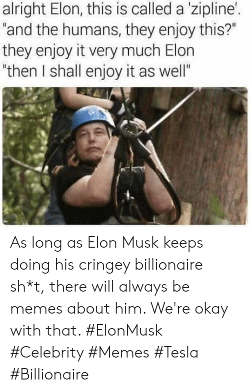"billionaire: alright Elon, this is called a 'zipline'.  ""and the humans, they enjoy this?""  they enjoy it very much Elon  ""then I shall enjoy it as well"" As long as Elon Musk keeps doing his cringey billionaire sh*t, there will always be memes about him. We're okay with that. #ElonMusk #Celebrity #Memes #Tesla #Billionaire"