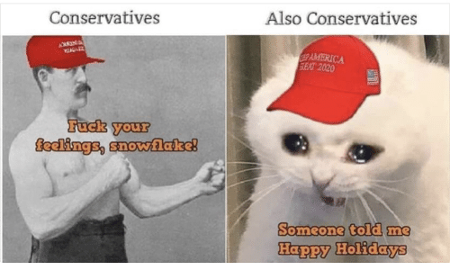 Me Happy: Also Conservatives  Conservatives  AMERICA  SEAT 2020  Fuck your  feelings, snovwlake!  Someone told me  Happy Holidays