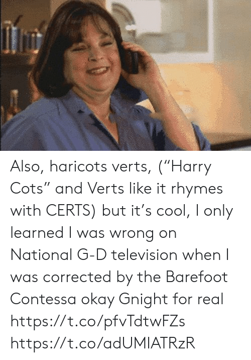 "Memes, Cool, and Okay: Also, haricots verts, (""Harry Cots"" and Verts like it rhymes with CERTS) but it's cool, I only learned I was wrong on National G-D television when I was corrected by the Barefoot Contessa  okay  Gnight for real https://t.co/pfvTdtwFZs https://t.co/adUMIATRzR"