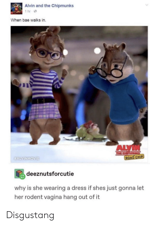 alvin and the chipmunks: Alvin and the Chipmunks  1 hr  When bae walks in.  ALVIN  TEE CHP  ROAD CHIP  EALVINMOVIE  deeznutsforcutie  why is she wearing a dress if shes just gonna let  her rodent vagina hang out of it Disgustang