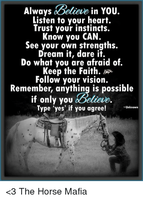Horses, Memes, And Vision: Always Believe In You. Listen To Your Heart