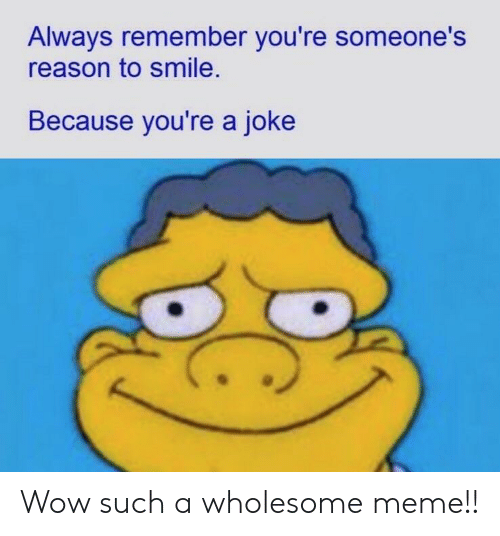 Meme, Wow, and Smile: Always remember you're someone's  reason to smile.  Because you're a joke Wow such a wholesome meme!!