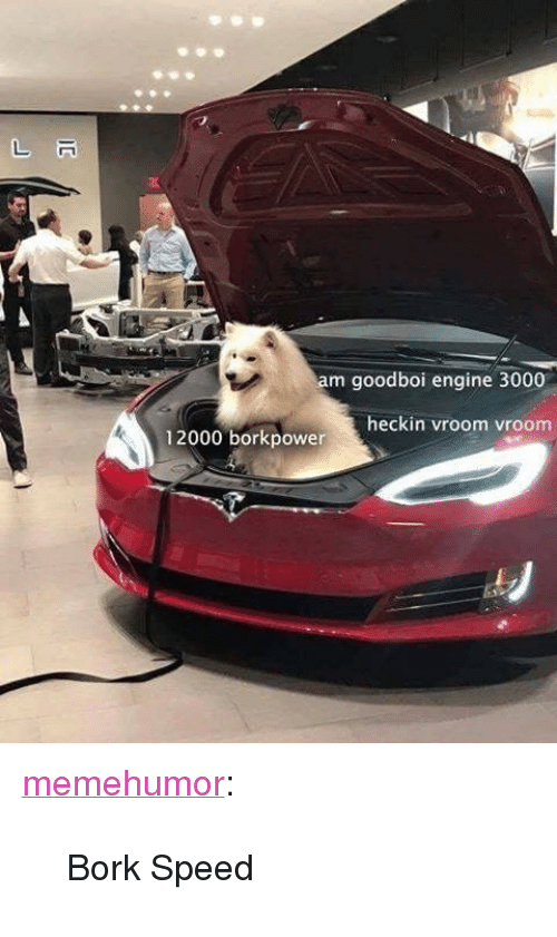 "Tumblr, Blog, and Http: am goodboi engine 3000  heckin vroom vroom  12000 borkpower <p><a href=""http://memehumor.net/post/166946177334/bork-speed"" class=""tumblr_blog"">memehumor</a>:</p>  <blockquote><p>Bork Speed</p></blockquote>"