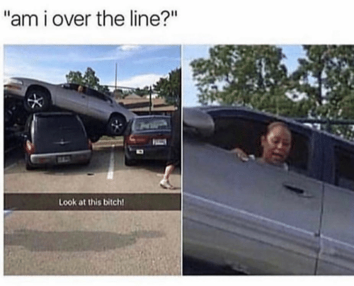 "Bitch, Look, and This: ""am i over the line?""  Look at this bitch!"