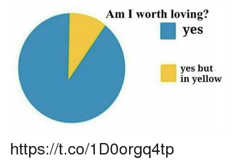 Memes, 🤖, and Yes: Am I worth loving?  yes  yes but.  in yellow https://t.co/1D0orgq4tp
