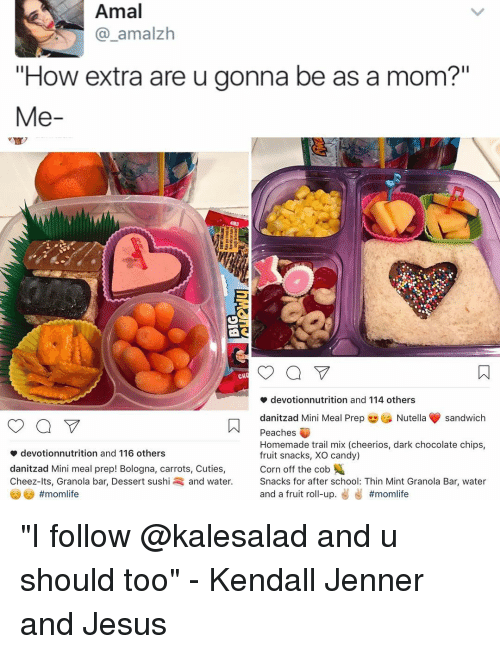 "Thin Mints: Amal  amalzh  ""How extra are u gonna be as a mom?""  Me  a V  CH  devotionnutrition and 114 others  danitzad Mini Meal Prep  Nutella sandwich  Peaches  Homemade trail mix (cheerios, dark chocolate chips,  devotionnutrition and 116 others  fruit snacks, XO candy)  Corn off the cob  danitzad Mini meal prep! Bologna, carrots, Cuties,  Cheez-lts, Granola bar, Dessert sushi and water  Snacks for after school: Thin Mint Granola Bar, water  and a fruit ro  up  ""I follow @kalesalad and u should too"" - Kendall Jenner and Jesus"