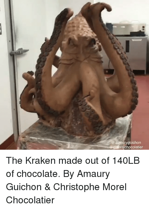Dank, Chocolate, and 🤖: amauryguichon  elchocolatier The Kraken made out of 140LB of chocolate.  By Amaury Guichon & Christophe Morel Chocolatier