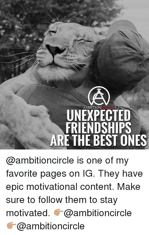 Unexpectable: AMBITION  UNEXPECTED  FRIENDSHIPS  ARE THE BEST ONES @ambitioncircle is one of my favorite pages on IG. They have epic motivational content. Make sure to follow them to stay motivated. 👉🏽@ambitioncircle 👉🏽@ambitioncircle