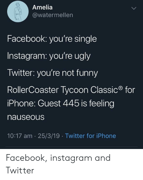 Facebook, Funny, and Instagram: Amelia  @watermellen  Facebook: you're single  Instagram: you're ugly  Twitter: you're not funny  RollerCoaster Tycoon Classic  iPhone: Guest 445 is feeling  nauseous  for  10:17 am 25/3/19  Twitter for iPhone Facebook, instagram and Twitter
