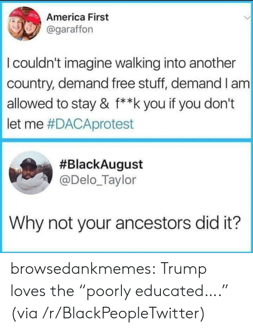 """America, Blackpeopletwitter, and Tumblr: America First  @garaffon  I couldn't imagine walking into another  country, demand free stuff, demand I am  allowed to stay & f**k you if you don't  let me #DACAprotest  #BlackAugust  @Delo_Taylor  Why not your ancestors did it? browsedankmemes:  Trump loves the """"poorly educated…."""" (via /r/BlackPeopleTwitter)"""