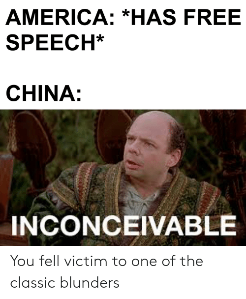 inconceivable: AMERICA: *HAS FREE  SPEECH*  CHINA:  INCONCEIVABLE You fell victim to one of the classic blunders