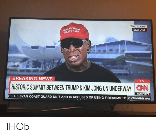 America, cnn.com, and News: AMERICA  REATAGAIN  Singapore  9:28 AM  BREAKING NEWS  LIVE  CNN  DS A LIBYAN COAST GUARD UNIT AND IS ACCUSED OF USING FIREARMS TO CUOMO PRIME TIME  HISTORIC SUMMIT BETWEEN TRUMP & KIMJONG UN UNDERWAY  6:28 PM PT IHOb