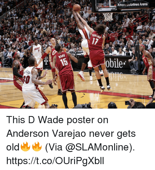 Memes, Anderson Varejão, and Moon: AmericanAirlines Arena  17  MOON  obile This D Wade poster on Anderson Varejao never gets old🔥🔥  (Via @SLAMonline).  https://t.co/OUriPgXbll